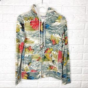 LUCKY BRAND Tropical Full Zip Hooded Sweatshirt